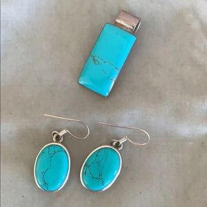 Turquoise pendant and earrings set in sterling